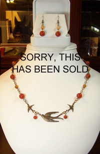 Barn Swallows with Carnelian Necklace and Earring Set